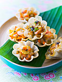 Asian-style vegetable sauté tulip appetizers