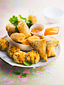 Assortment of Asian fried appetizers