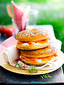 Smoked salmon, fromage frais and chive Nordic bagel