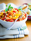 Italian-style rice with tomatoes, peppers and onions