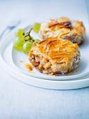 Chicken, duck foie gras, date and almond Pastilla