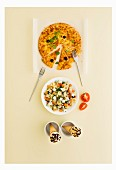 Italian menu with pizza, pasta salad and ice cream