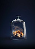 Coffee-flavored and crushed hazelnut cream dessert under a glass dome