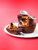 Chocolate fondants with runny salted butter toffee center