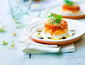 Fromage frais, salmon and stewed tomatoes with herbs