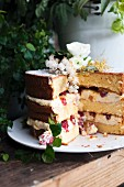 Cocoa and raspberry Naked cake decorated with flowers