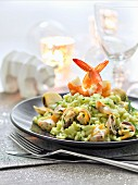Cockle and shrimp green curry risotto