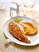 Chicken breast glazed with honey, ginger and lime, pureed sweet potatoes