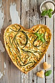 Heart-shaped courgette quiche
