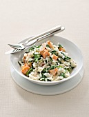 Spinach and salmon risotto