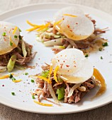 Shredded duck à l'orange with marinated turnips