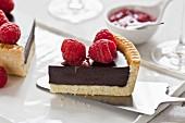 Slice of chocolate-raspberry tart