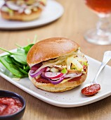 Vegetable and Comté vegetarian burger with ketchup sauce