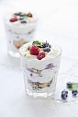 Whipped cream and summer fruit dessert