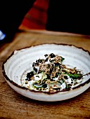 Braised cabbage and seaweed salad with creamy Wiltshire truffle sauce