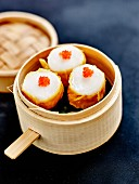Scallop and squid Shumai with flying fish roe