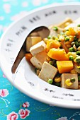Asian-style mixed peas, tofu, sweetcorn and pumpkin sauté