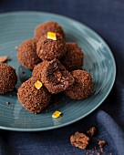 Chocolate and confit orange rind truffles