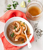 Shrimp, vermicellis, citronella and coriander broth