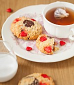 Candy and chocolate chip cookies, bergamot orange tea