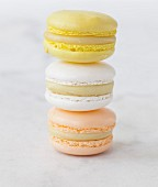 Stack of banana, white chocolate and orange blossom Macarons