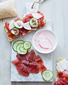 Smoked tuna, cucumber, pickled turnip and Savora mayonnaise panini