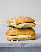Confectioner's custard and whipped cream brioche sweet sandwich