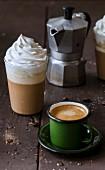 Caffè corretto à la grappa and affogato al caffè à l'amaretto