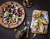 Artichoke fritters and fennel, Trévise lettuce, gorgonzola, anchovy, olive and walnut salad