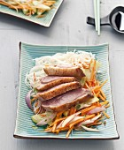Magret de canard and crisp vegetable bo-bun
