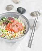 Rice, red tuna and salmon sashimi bo-bun