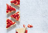Pieces of strawberry cheesecake