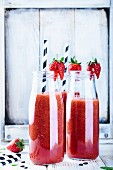 Watermelon and Strawberry Smoothie Bottles