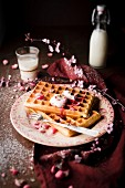 Pile of plain Brussels waffles with red berry coulis, cream and pink pralines and icing sugar