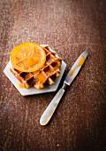 Waffle Liégeoises with orange marmelade