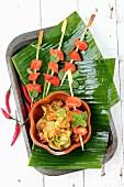 Tandoori chicken and courgette tempuras