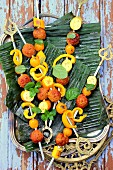 Accras and plantain banana brochettes