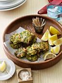 Haloumi, mint and zucchini fritters