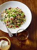 Pearl barley salad with pomegranate seeds
