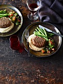 Steaks with parsnip puree, green beans and tabouleh