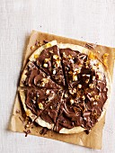 Chocolate, hazelnut and toffee pizza