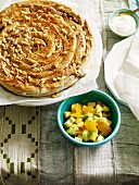 Moroccan almond and pin nut filo pastry pie
