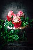 Raspberry cream and rose cupcakes