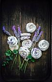 Lavender cream meringues