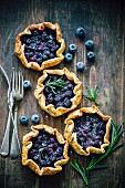 Blueberry and rosemary tartlets