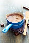 Saucepan of traditional hot chocolate