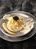 Cauliflower hummus and caviar