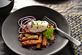 Aubergine wedges sauté with soya sauce, sesame, chives and mushroom mousse