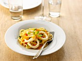 Linguini with squid rings