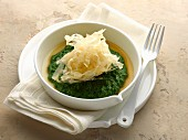 Oeuf en Colère, Swiss chard puree and chicken broth